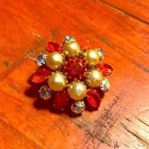 Antique orange rhinestone & faux pearl brooch